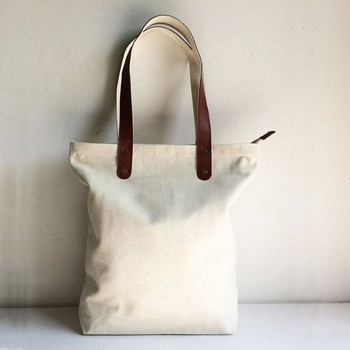 072c95608c Blank Original Canvas Tote Bag With Genuine Leather Handles - Buy ...