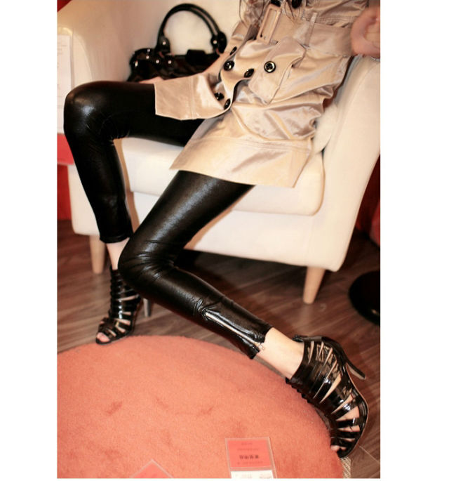 Wholesale fashion wet look faux leather leggins with zip