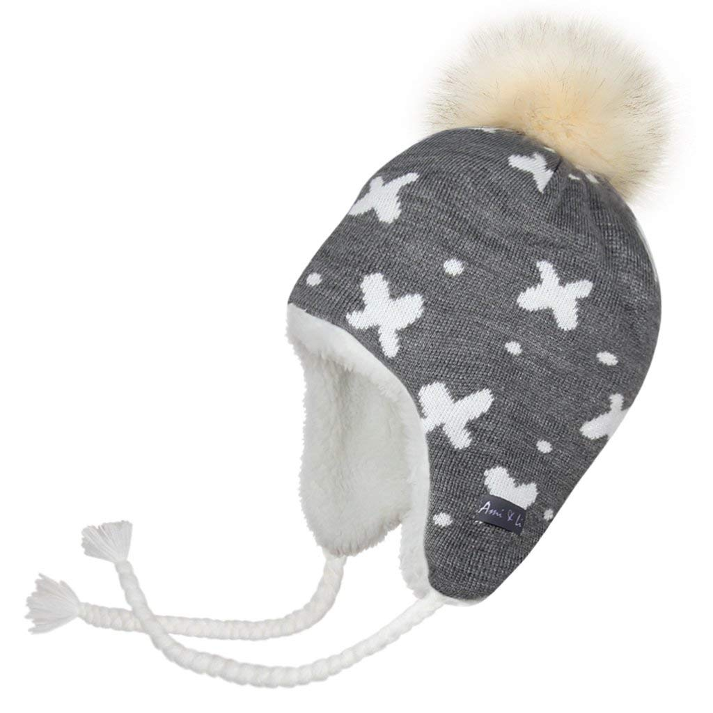 508190a7d58 Get Quotations · Ami Li tots Knit Winter Hat Earflaps Beanie for Kids
