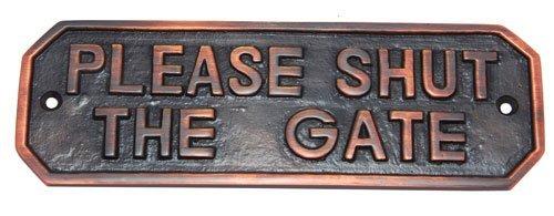 Adonai Hardware Rectangular Please Shut The Gate Brass Door Sign - Antique Copper