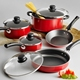 12pcs red italian forged aluminum non-stick cookware set