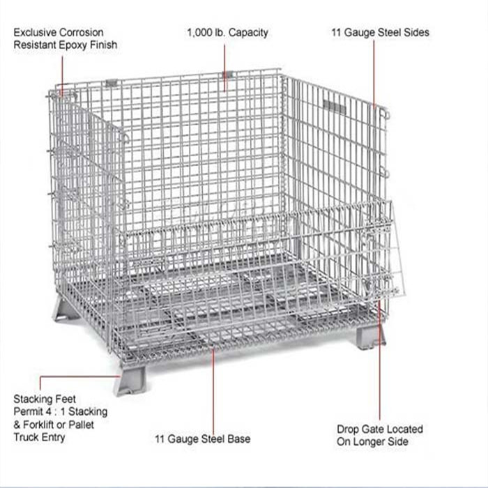 Wire mesh pallet cage for transportation