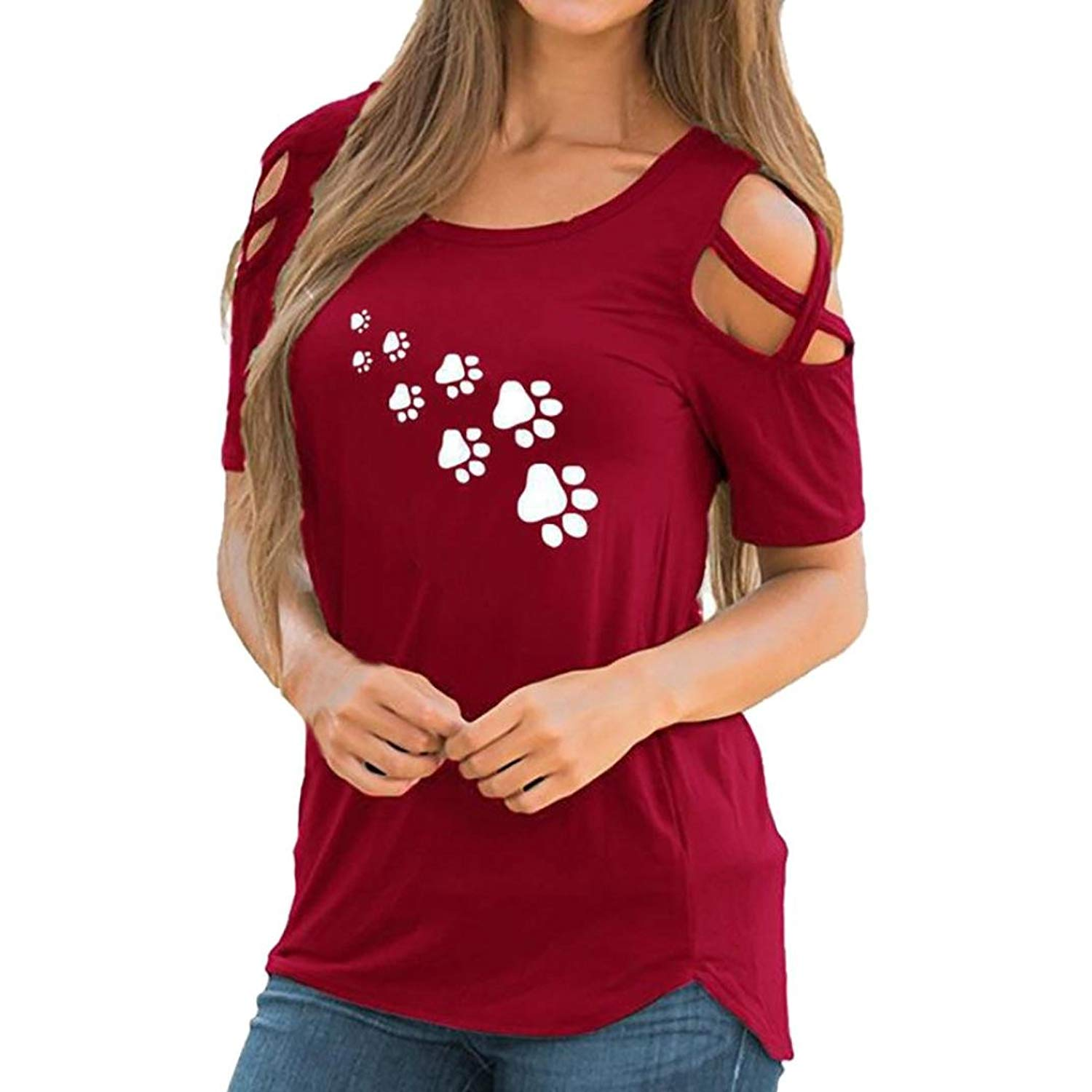 UONQD Woman Women Summer Short Sleeve Print Strappy Cold Shoulder T-Shirt Tops Blouses