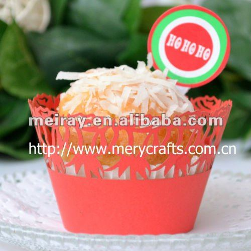 "Popular model! laser cut red ""Rosebud"" cupcake wrapper from Mery crafts"