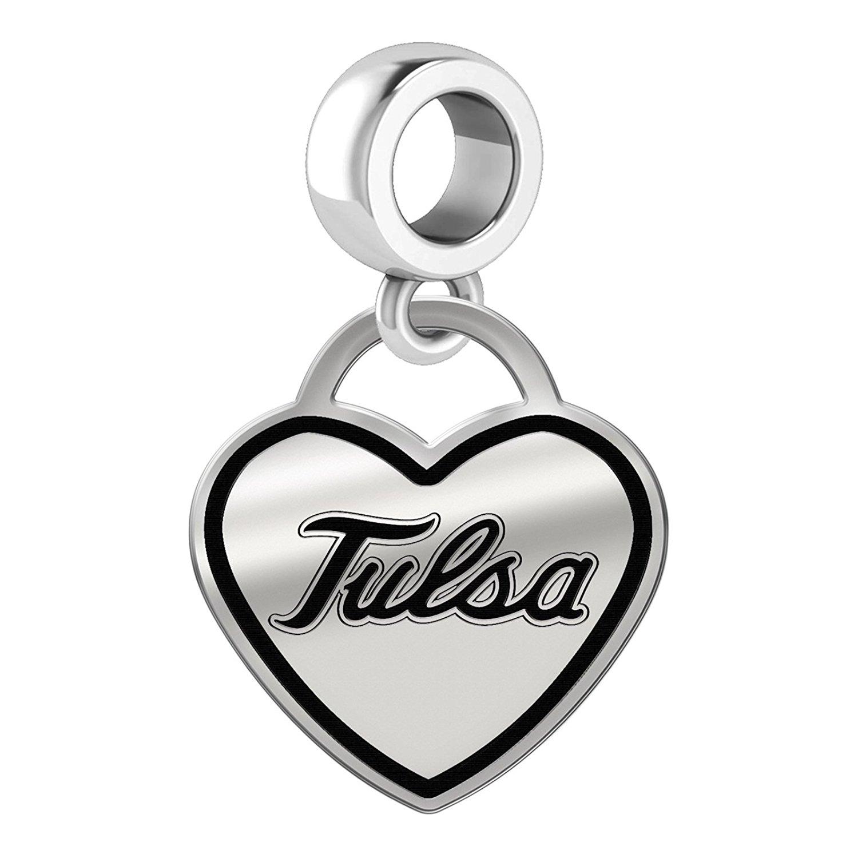 Tulsa Golden Hurricane Border Heart Dangle Charm Fits All Beaded Charm Bracelets