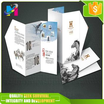 Full Color Printing Brochure Z Folded Flyer Tri Leaflet Booklet
