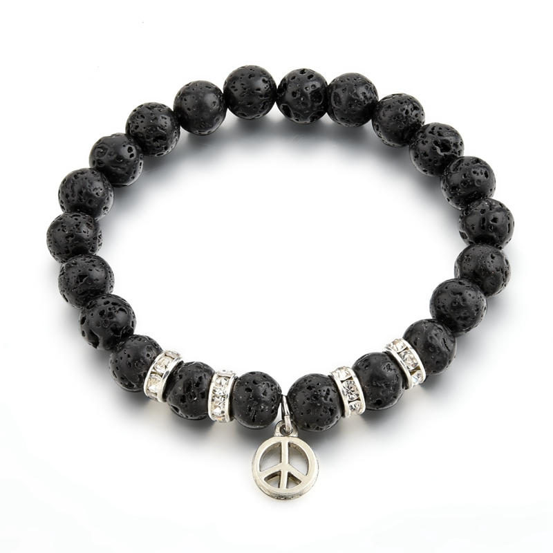 Promotional jewelry bracelet made of nature stone ,volanic beads with peace symbol charm gift bracelet