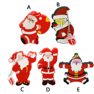 Santa Claus Gift Model Pvc Usb 2.0 Memory Christmas Usb Stick Flash Drive