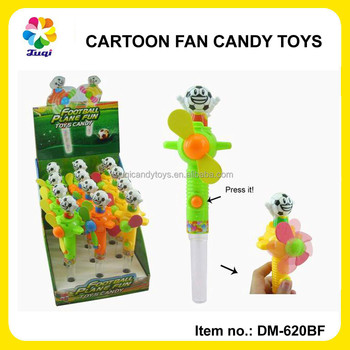 Plastic Mini Hand-held Candy Fan Toys With Sweet Candy