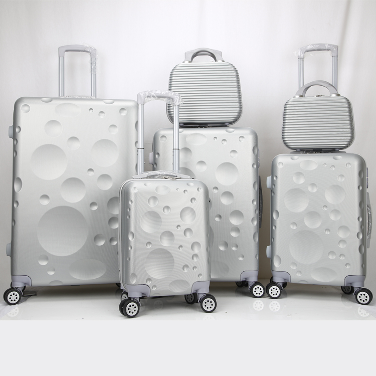 China Factory Low Price Wholesale ABS Water Ripple 6pcs Hard Shell Travel Luggage Sets