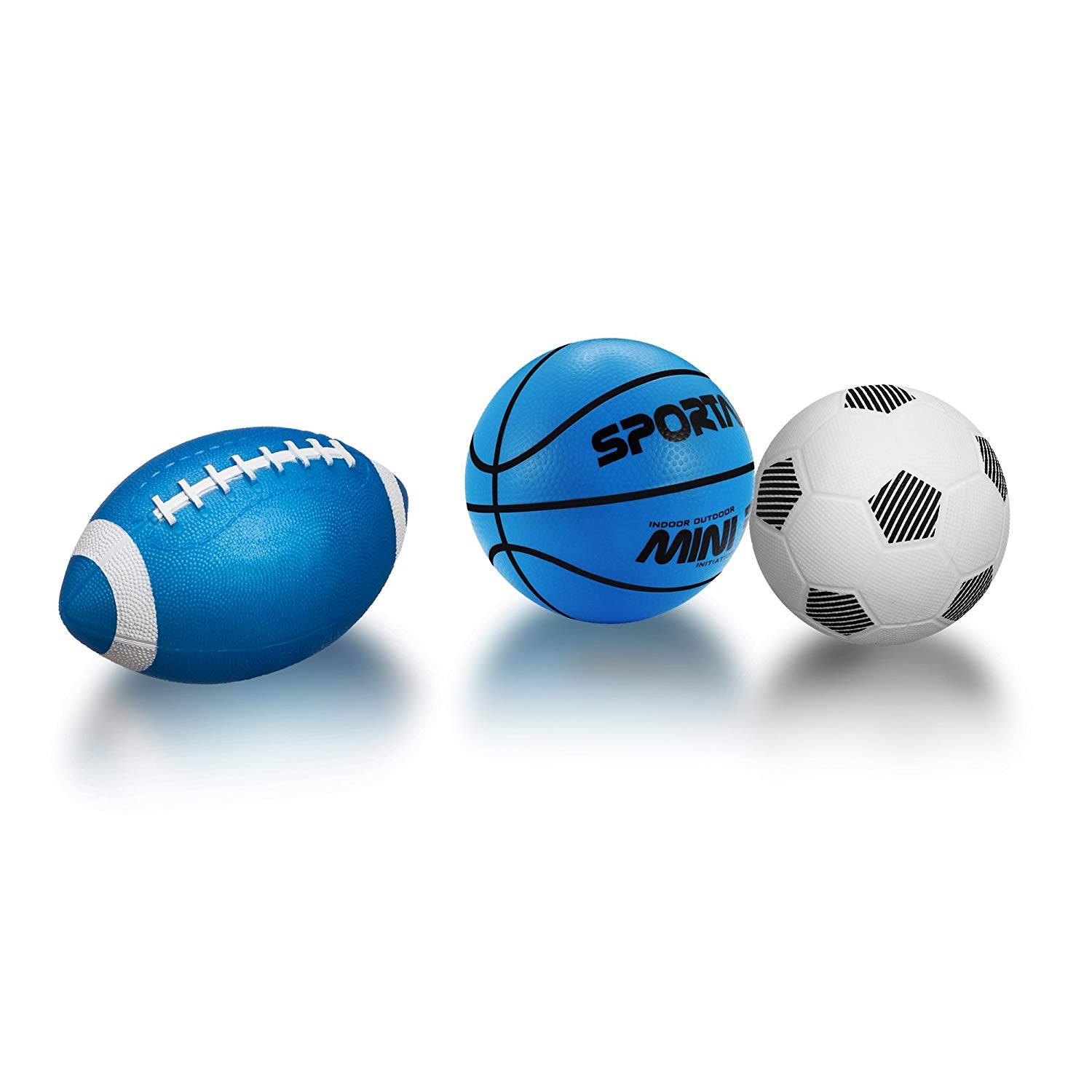 Sports Toy Ball Set for Toddlers,Soft Inflate Bouncy Balls for Kids Playground Outdoor Indoor Family Games(Includes 5 inch Basketball,5 inch Soccer,8.5 inch Football,Pump) Pack of 3