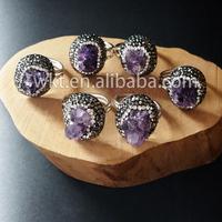 WT-R206 Fashion 925 sterling silver rhinestone diamond paved amethyst rings