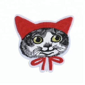 Wholesale lively large cat applique embroidery sew on patch for cloths