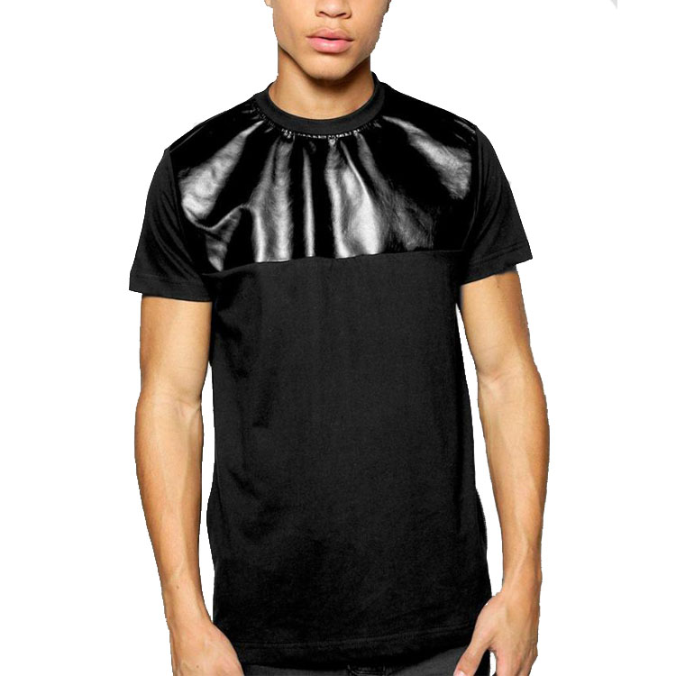 PU panel men t-shirt t shirt with side zips
