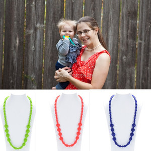 Baby Teething Necklace/Factory Manufacturer Food Grade Chew Bead Silicone Jewelry Baby Teething Necklace Wholesale