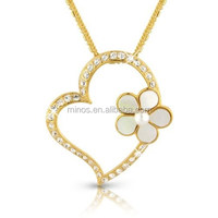 New Designs Women Necklace Gold Heart Pendant Flower Necklace for Wholesale