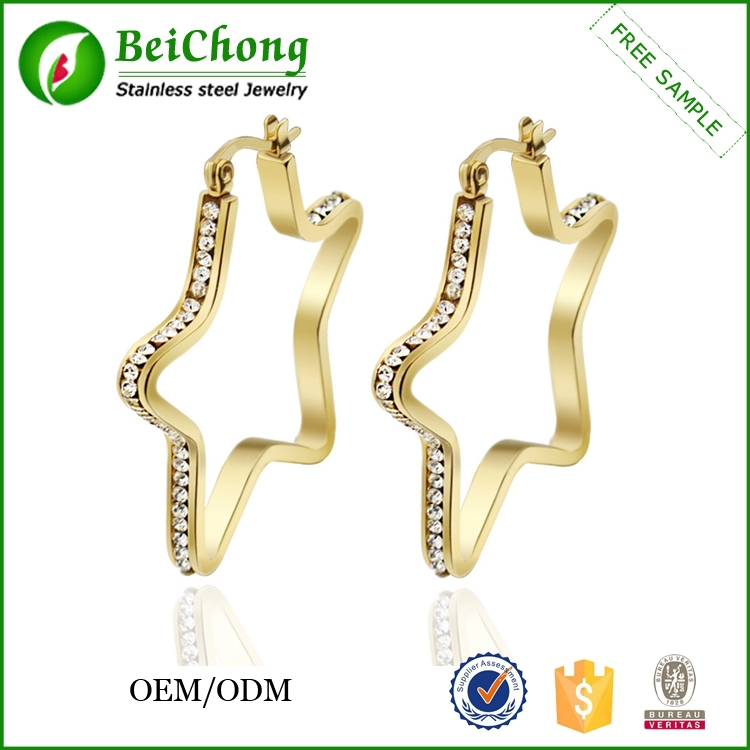 Best selling products fashion stainless steel gold earring latest design diamond earring