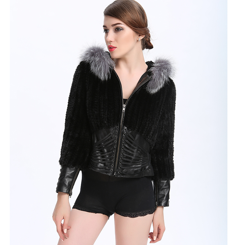 Hooded Mink Fur Coat 2015 Short  Knitted Coats Silver Fox Cap Fur coat Genuine Leather Cuff  Black Hooded Mink Fur Coat S-2XL