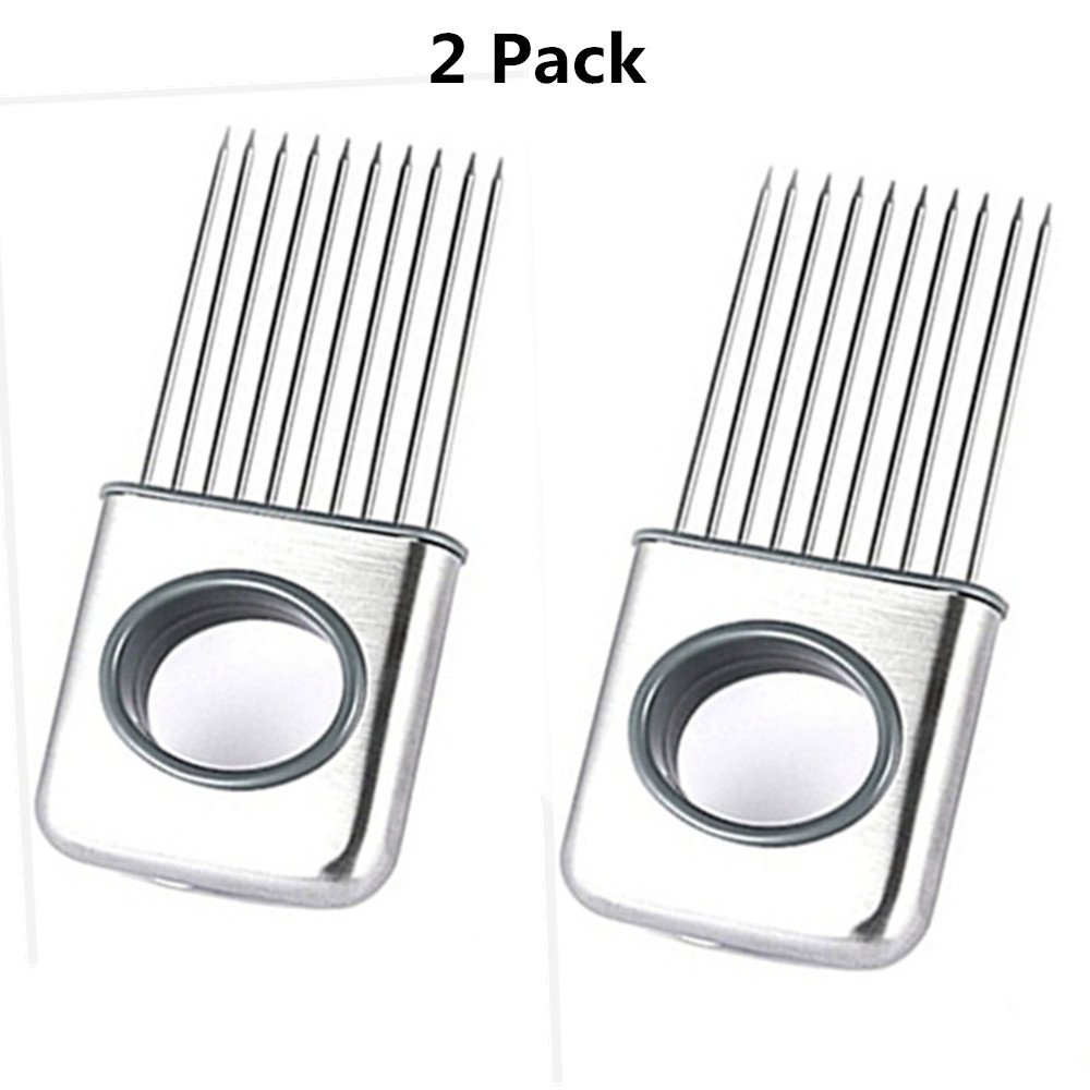 2 Pack Easy Onion Holder Slicer, Giveme5 Stainless Steel Cutting Kitchen Gadget Meat Onion Tomato Holder Slicer Cutter Vegetable Fruit Tools - Silver