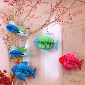 Paper Balls Decoration Glamorous Bird Fish Decorative Tissue Paper Honeycomb Paper Balls Flower Design Decoration