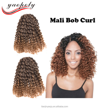 Hot selling Mali bob 8inch 3pcs Synthetic Afro twist braid kinky curly crochet braids hair