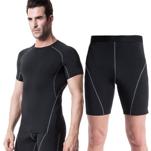 Quick Dry Compression Suits Short Sleeve Shirt+Shorts Men's Running Set Fitness Tight Sport Suit Men Outdoor Jogging sportswear