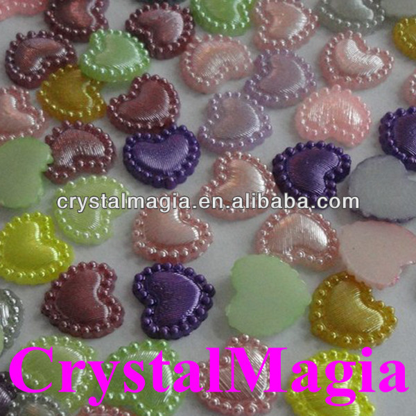 wholesale heart shape plastic pearls for decoration