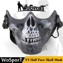High quality airsoft half face army skull horror mask for wargame