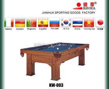 Solid Wood Carved Pool Table With Tiger Shape Leg Leather Pocket - Adjustable pool table