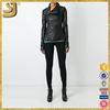 OEM factory price waterproof leather motorcycle jackets, black women jacket with fur hood