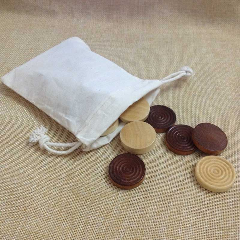 Wood Backgammon Chips with Cloth Pouch - Brown & Natural 1.25 in. diameter