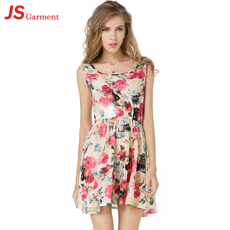 JS 20 Multiple Freight Mode New Sleeveless Large Size Chiffon Dress With Floral Printing 1139