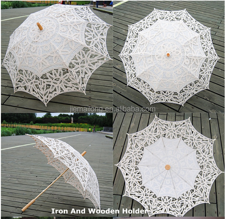 2015 hot sell Ivory white bridal wedding umbrella lace for wedding party