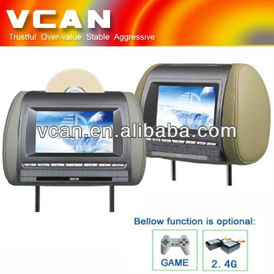 7 inch tv in headrest DVD player Monitor with IPOD HAV-700D