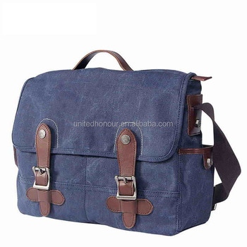 23c27e9418 Navy Blue Vintage Canvas Real Leather Laptop Men Briefcase Messenger ...