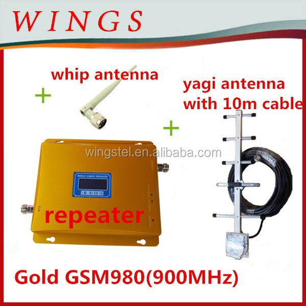 booster for home use Gold GSM980 set signal repeater+power adaptor+outdoor yagi antenna with 10m cable+indoor whip antenna