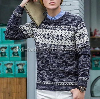 Crew Neck Snowflake Jacquard Knitting Pattern Mens Knitted Sweater