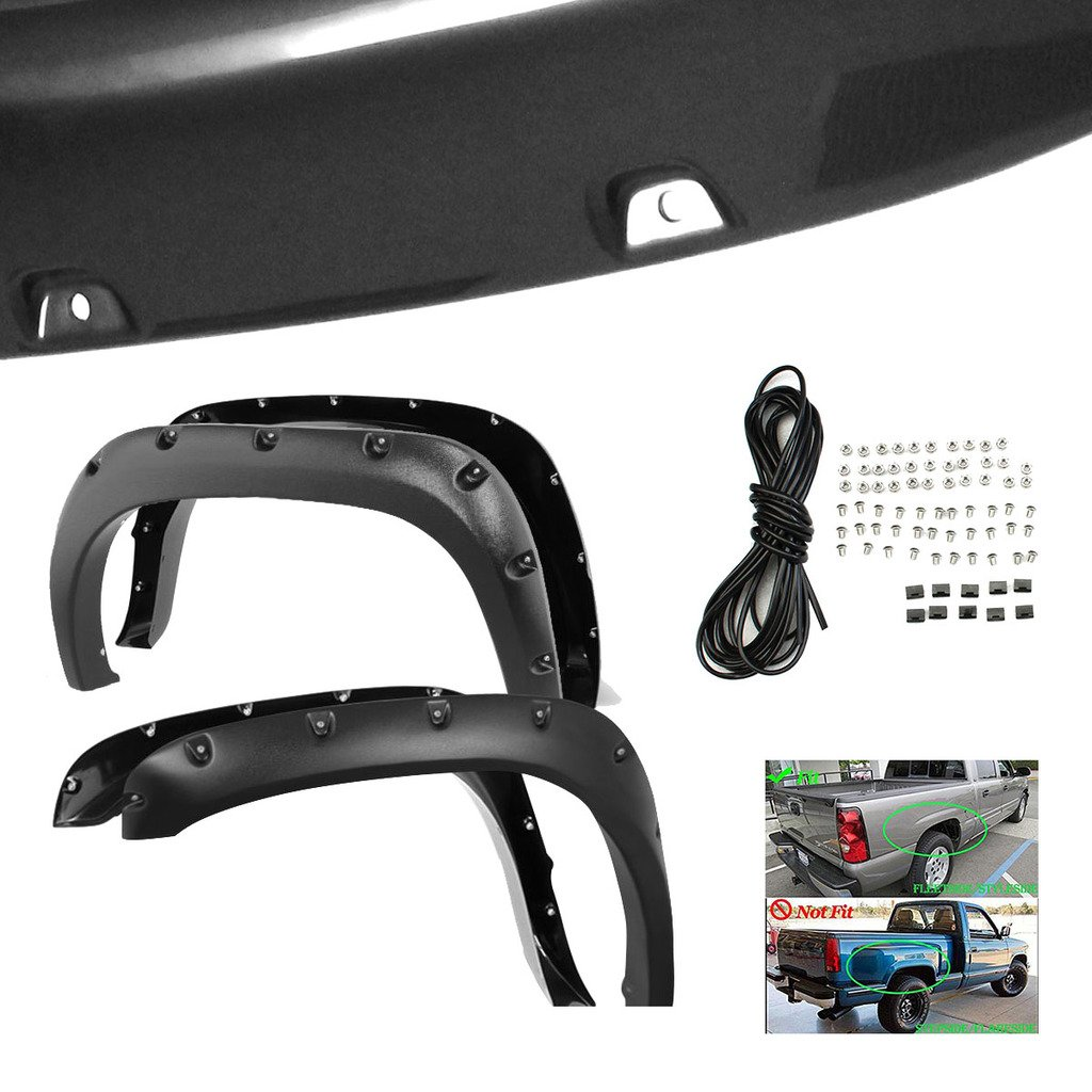 RAFTUDRIVE 4pcs Smooth Black ABS Pocket Rivet Bolt-On Fender Flares Fit 2002-2008 Dodge RAM 1500 and 03-09 Dodge RAM 2500/3500 Pickup (Not Fit Dually Model Which Has Dual Rear Wheels)