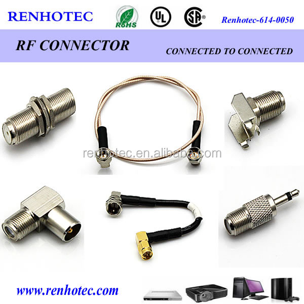 China supplier right angle straight F type plug SMA jack connector adapter coax cables