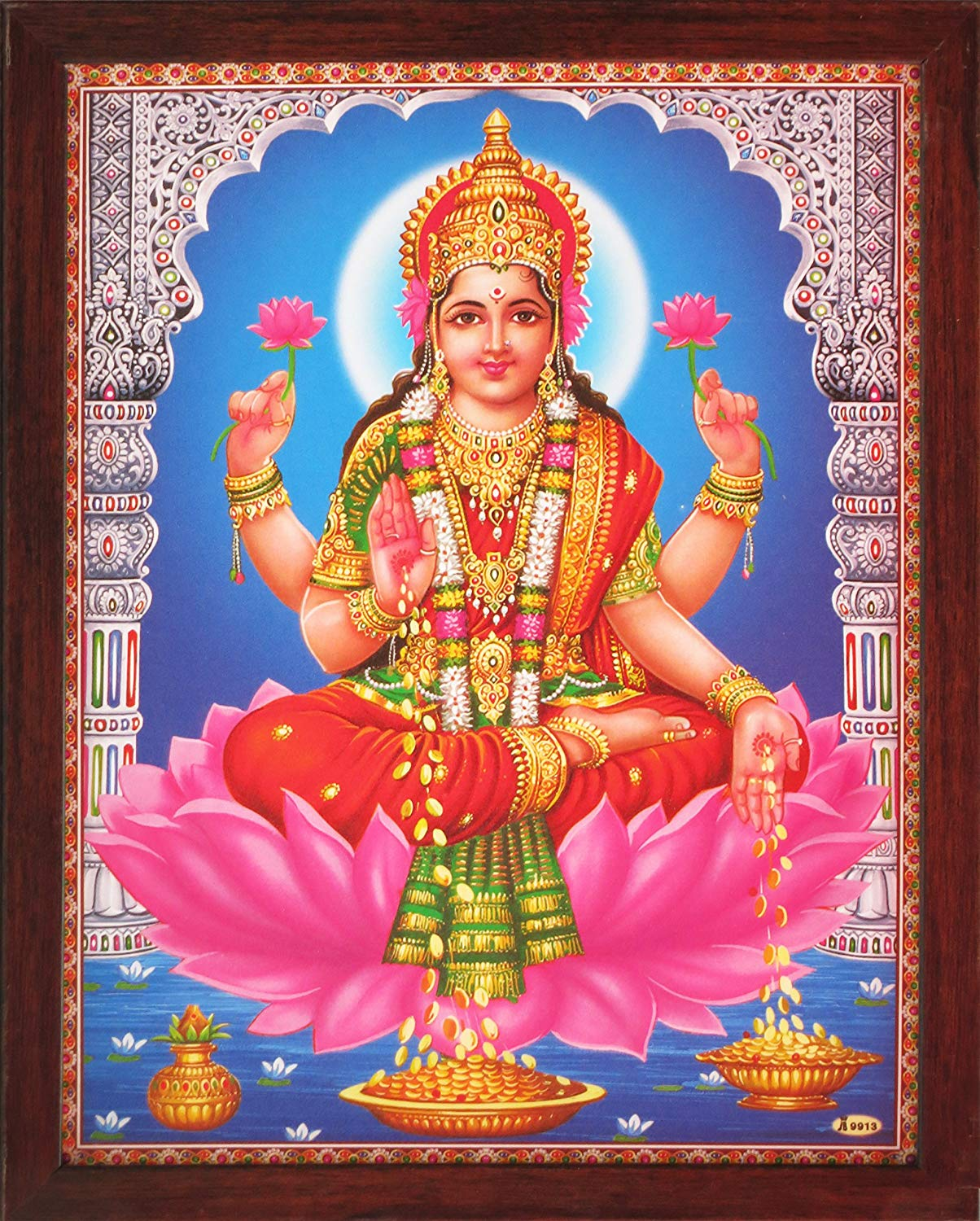 HandicraftStore Hindi Religious Goddess Maa Laxmi Showering Money, a Indian Hindu Religious Poster Painting with Frame
