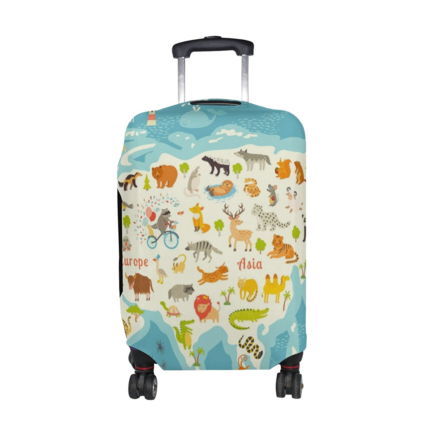 Showudesigns Zipper Thick Extends Travel Luggage Suitcase Cover Colorful Dog Designer