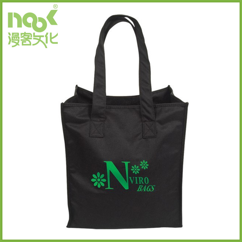 X stitch black non woven bag with big logo front back