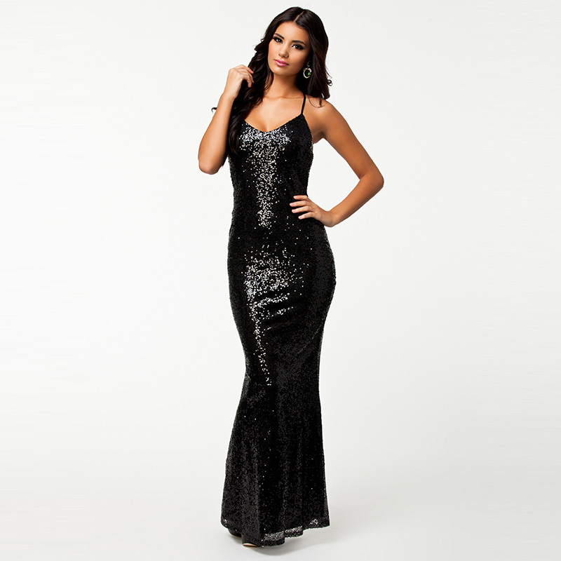 R7890 New fashion trend black and blue long sleeveless dress elegant style sexy club dress 2015 hot sale sequin backless dress