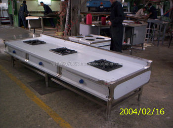 Chinese Restaurant Kitchen Equipment 3 large burners gas range hotel kitchen equipment/industrial
