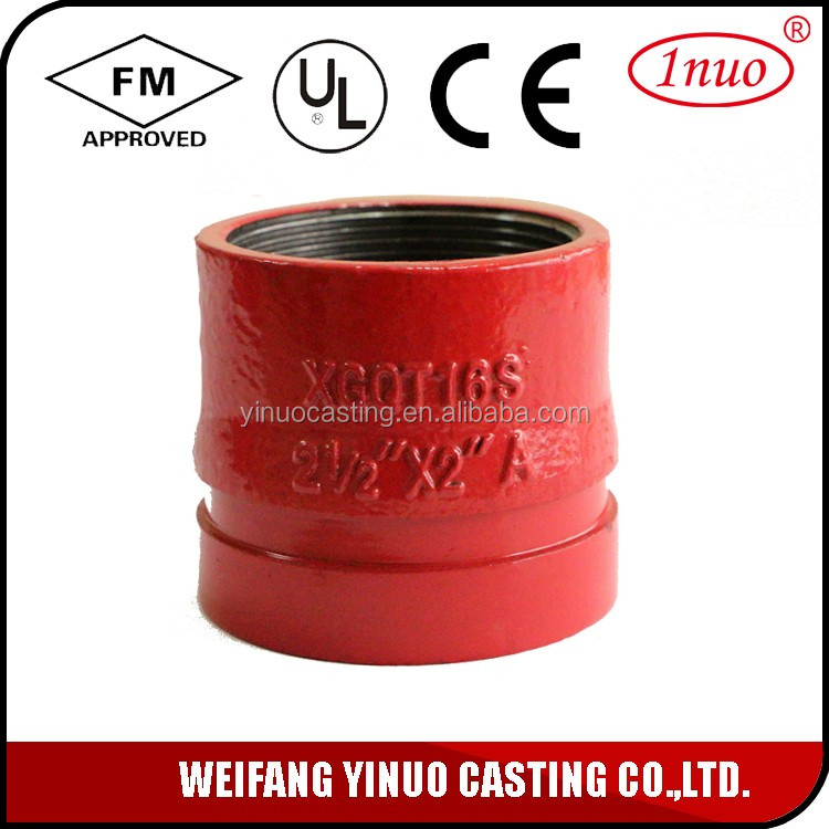 Industrial grooved fittings threaded reducer tee