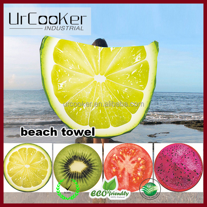 Hot selling 3D European style funky cotton print women summer cover sunproof round beach towel