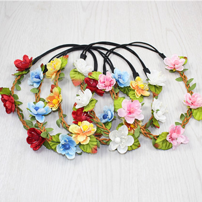 Mother & Kids Provided Women Girl Headwear Big Flower Wreath Crown Headband Floral Holiday Garlands Hair Band Accessories Red White Purple Numerous In Variety