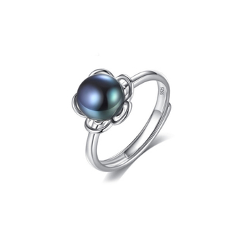 RI00178 Yiuw WT natural small taro pearl jewelry,925 sterling silver blue pearl ring for girl weddings opening