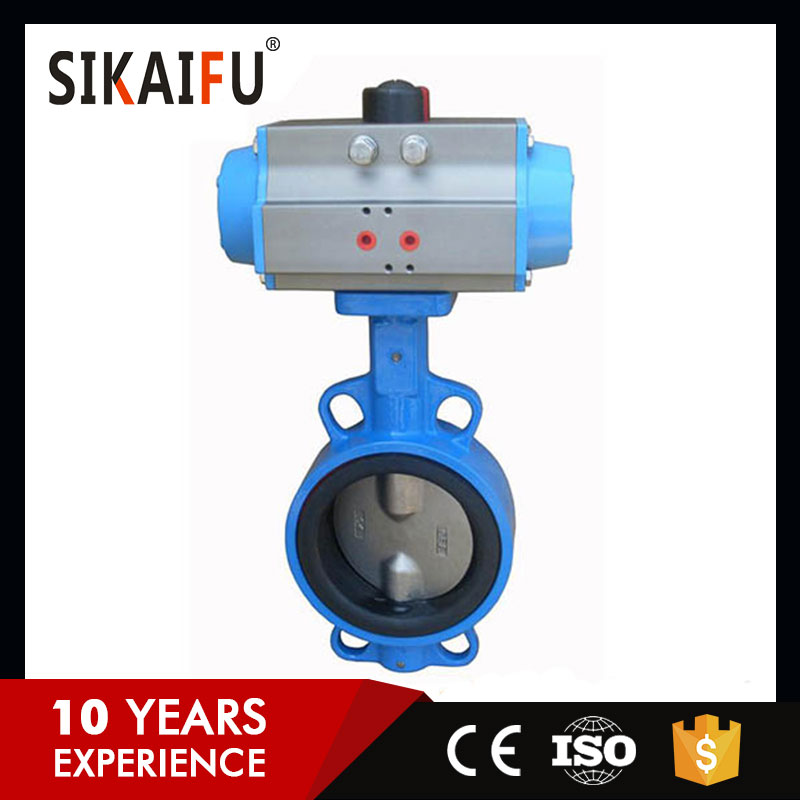 Durable in use cast iron electric drive gas flow butterfly valve