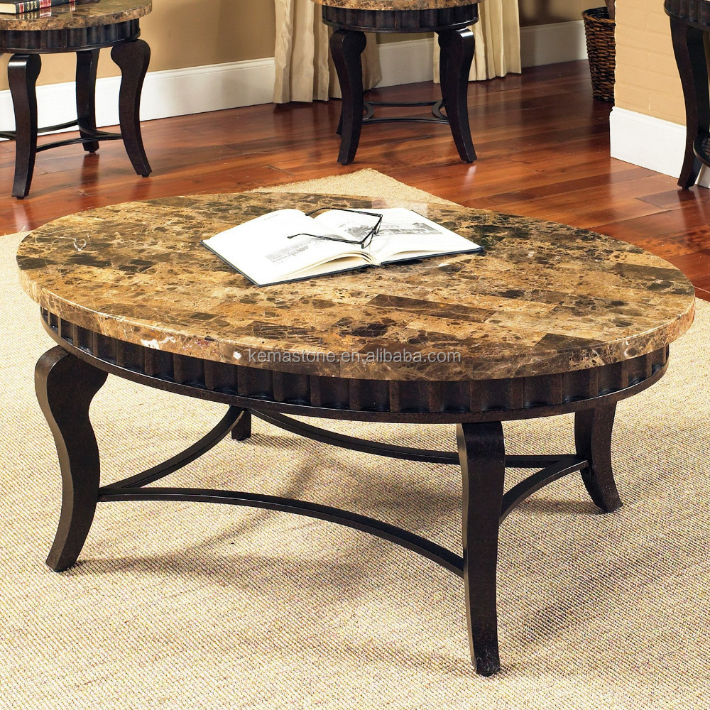 - Emperador Dark Marble Oval Stone Top Coffee Table - Buy Oval Stone